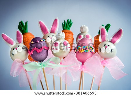 Sweet chocolate Easter cake pops,selective focus  - stock photo