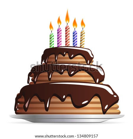 Sweet Chocolate or birthday cake with color candles - icon isolated on white background - stock photo