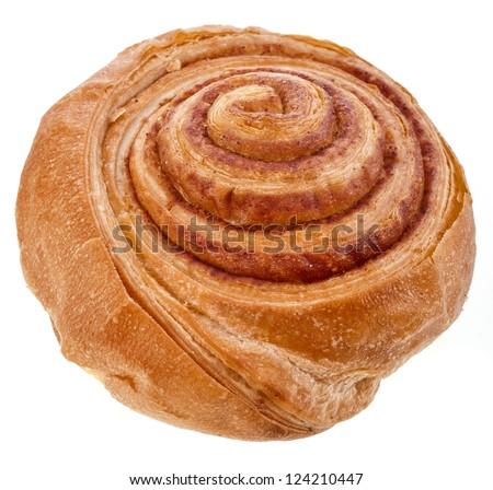 Sweet cinnamon roll bun Isolated on white background - stock photo