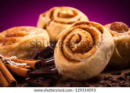 Sweet cinnamon rolls - stock photo