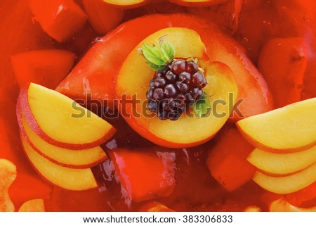 sweet cold red jelly pie with peach  - stock photo