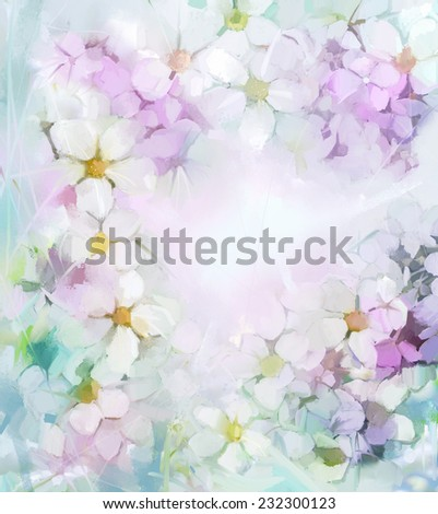 Sweet color flowers in soft color and blur style for background.Oil painting flowers - stock photo