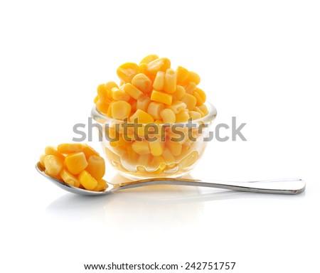 sweet corn isolated on white - stock photo