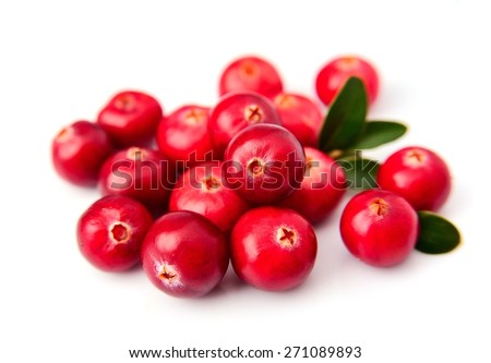 Sweet cranberries close up on white  - stock photo