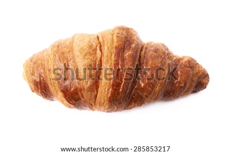 Sweet croissant pastry bun isolated over the white background - stock photo
