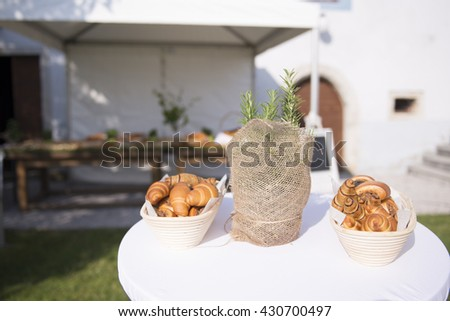 Sweet croissants waiting for guests to arrive - stock photo