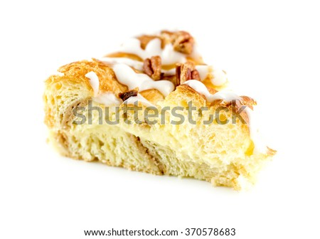 Sweet custard filled danish cake isolated on white - stock photo