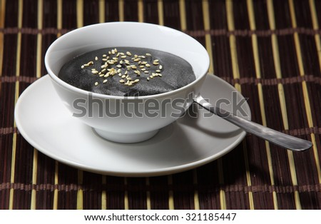 Sweet Delicious creamy black sesame tahini soup - stock photo