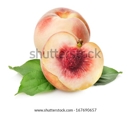 Sweet delicious peaches isolated on a white background - stock photo