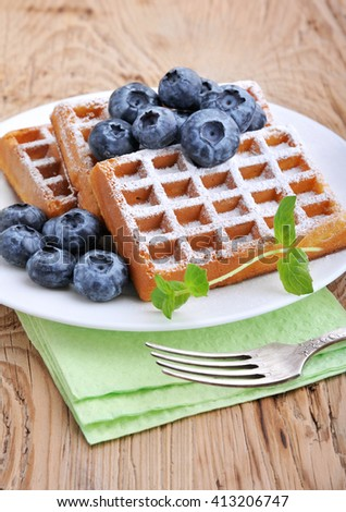 Sweet dessert: belgian waffles with blueberries sprinkled with powdered sugar. - stock photo
