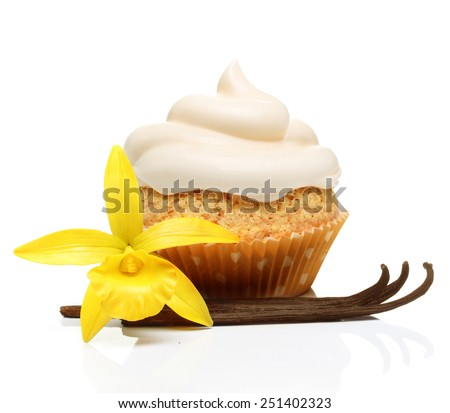 Sweet dessert, cupcake  with vanilla pods and orchid flower isolated on white background. - stock photo