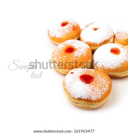 Sweet donut for jewish holiday hanukkah isolated on white background - stock photo