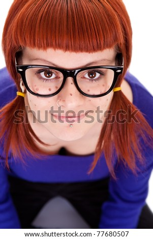 sweet freckles girl with red hair, close up, isolated on white background - stock photo