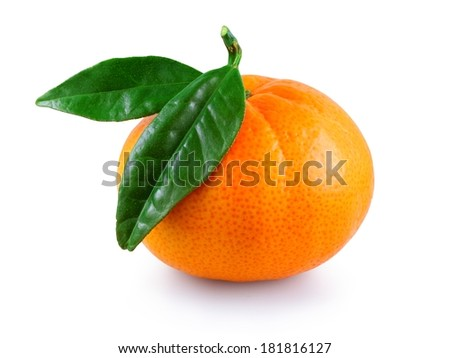 Sweet fresh juicy mandarin with green leaves isolated on a white background - stock photo