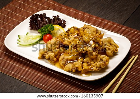 Sweet fried Chinese chicken  - stock photo