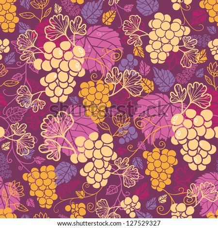 Sweet grape vines seamless pattern background raster - stock photo