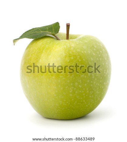 Sweet green apple with  leaf isolated on white background - stock photo