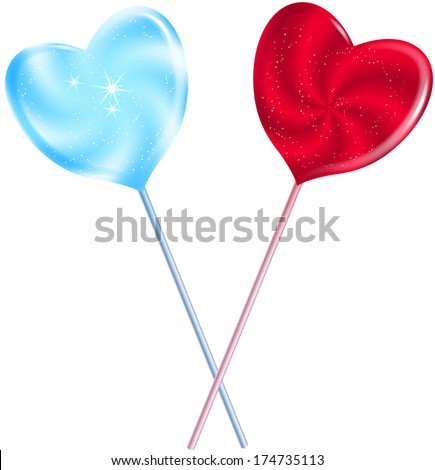 Sweet Hearts. Heart shaped lollypops. - stock photo