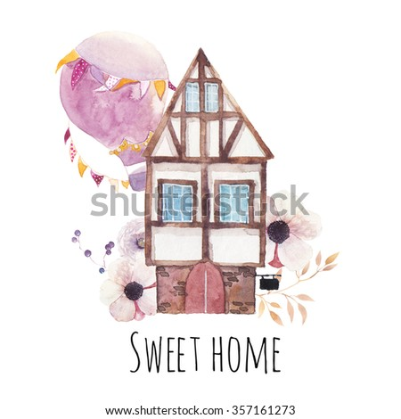 Sweet home watercolor illustration. Hand painted house, hot air balloon with flags garlands, anemone flowers, berries and leaves branches collage isolated on white background. Cute cartoon label - stock photo