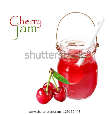 Sweet homemade cherry jam with fresh cherry on a white background. - stock photo