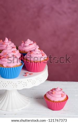 Sweet homemade cupcake, selective focus - stock photo
