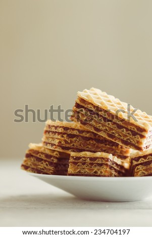 Sweet homemade wafer cakes  - stock photo