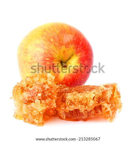Sweet honey comb with honey and apple fruit .Isolated on a white background  - stock photo
