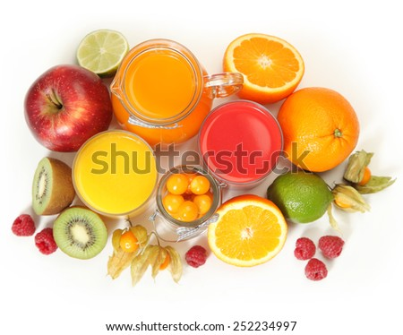 sweet juice and fruits on white - stock photo