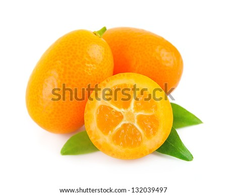 Sweet kumquat citrus fruits closeup on white - stock photo