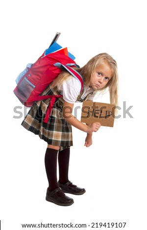 sweet little blonde schoolgirl asking for help carrying heavy backpack or school bag full causing stress and pain on back due to overweight isolated on white background - stock photo