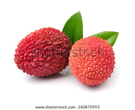 Sweet lychees fruits with leaves close up on white background .  - stock photo