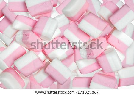 Sweet marshmallows on white background. - stock photo