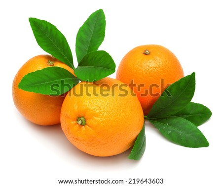 Sweet orange fruit with leaf on white background - stock photo
