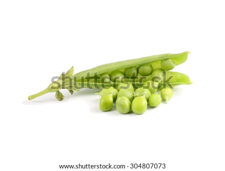Sweet pea in closeup on white background - stock photo