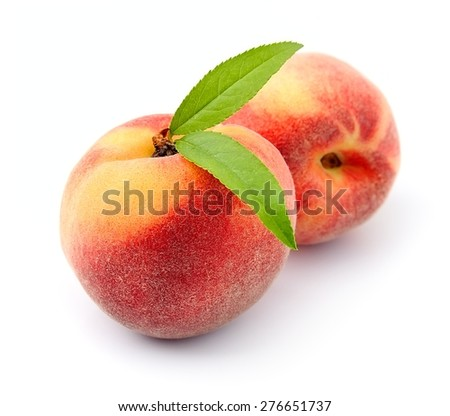 Sweet peach fruits on a white background  - stock photo