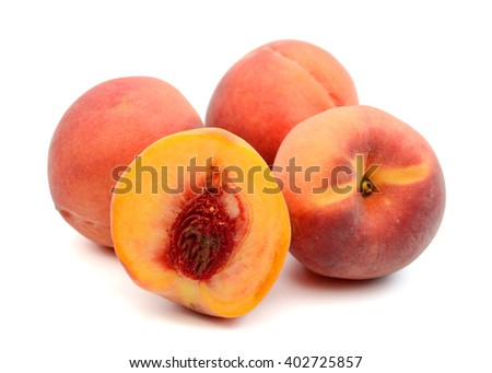 sweet peaches isolated on white  - stock photo