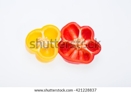 sweet pepper isolated on white background  - stock photo