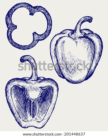 Sweet peppers sliced in pieces. Doodle style. Raster version - stock photo