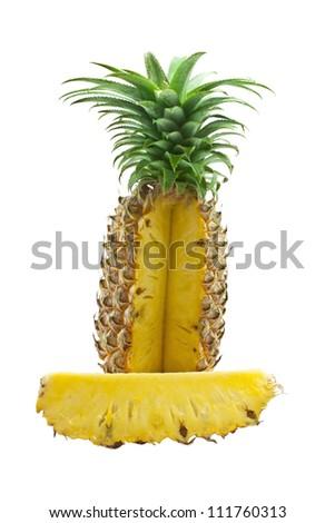 Sweet  pineapple on white background - stock photo
