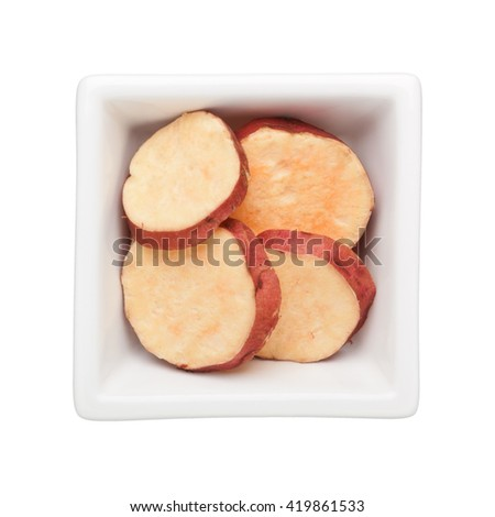 Sweet potato in a square bowl isolated on white background - stock photo