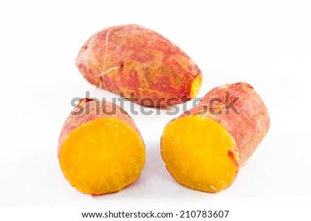 Sweet potato isolated on white background  - stock photo
