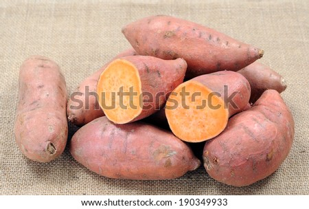 sweet potato sample in the market place - stock photo