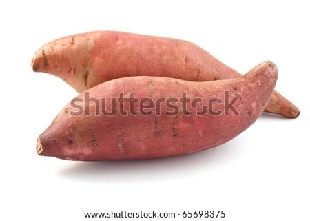 Sweet potatoes isolated on white background - stock photo