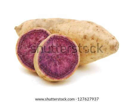 sweet potatoes on the white background - stock photo
