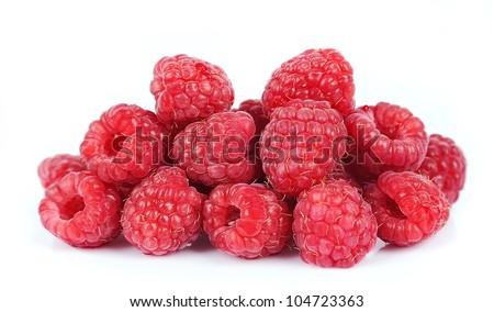 Sweet raspberry  on white - stock photo