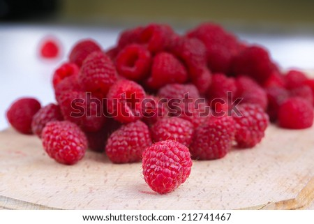 Sweet red raspberries - stock photo