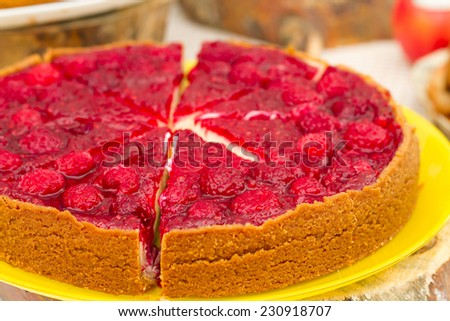 Sweet red tart with berries - stock photo