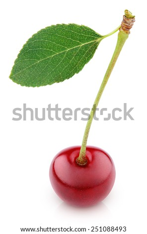 Sweet ripe cherry berry with leaf isolated on white with clipping path - stock photo