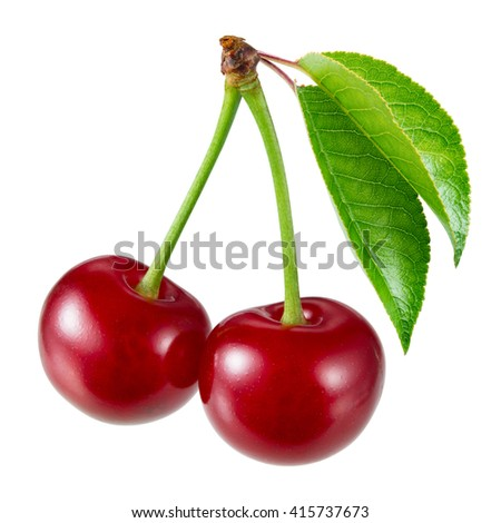 Sweet ripe cherry with leaves isolated on white. - stock photo