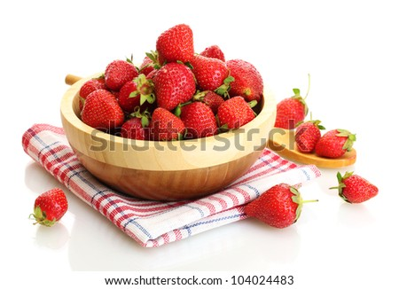 sweet ripe strawberries in wooden bowl isolated on white - stock photo